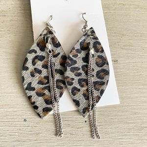 Faux Leather Gray Leopard Earrings